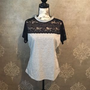 Shirt with lace accent